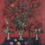Bouquet sur fond rouge (de)