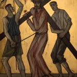 Chemin de Croix du Christ-Roi, Station 05, Simon de Cyrène aide Jésus à porter sa croix