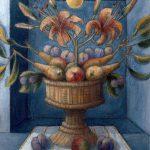 Fruits et fleurs dans un panier d'osier en forme de coupe (en)