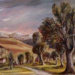 Paysage avec arbres et montagnes enneigées (en)