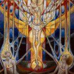 Ornementation sur la très sainte Trinité illuminant les âmes dans les corps plongés dans la Terre-mère (en)