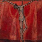 Christ sur fond rouge