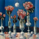 Six vases de roses mauves