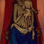 Vierge et enfant au dais rouge