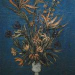 Bouquet sur fond bleu