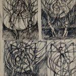 Quatre Christ et couple. Dessin au stylo sur papier