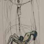 Christ et homme portant une femme. Dessin au stylo noir sur papier blanc