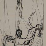 Le Christ avec un homme portant une femme. Dessin au stylo sur papier blanc