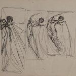 Ange et homme. Dessin préparatoire pour « L'amour de l'ange », dessin au stylo sur papier blanc