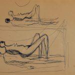 Naissance de la femme. Premier dessin au stylo sur papier