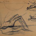 Naissance de la femme. 10e dessin au stylo sur papier, avec mention : « Naissance d'Ève» (en)