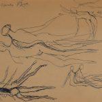 Naissance de la femme. 11e dessin au stylo sur papier, avec mention : « Naissance d'Ève » (en)