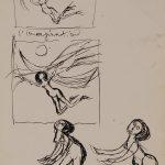 L'imagination. Dessin au stylo noir sur papier ivoire