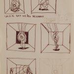 La vie est un feu dévorant.. Cinq dessins au stylo noir sur papier ivoire