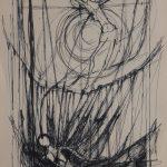 Christ avec deux personnages vers le bas. Dessin au crayon sur papier ivoire